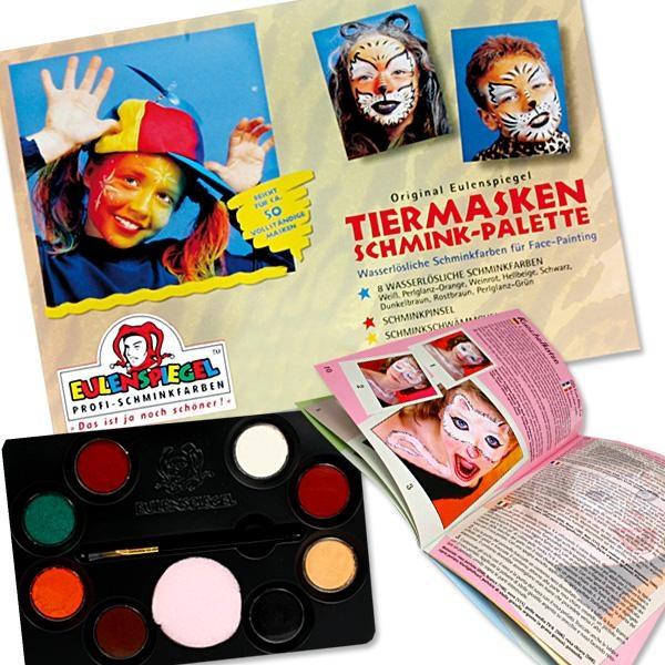Tiermasken-Schminkpalette f. Katzengesicht / Hundegesicht etc., mit 8 Farben, Pinsel, Schwamm, Anleitung