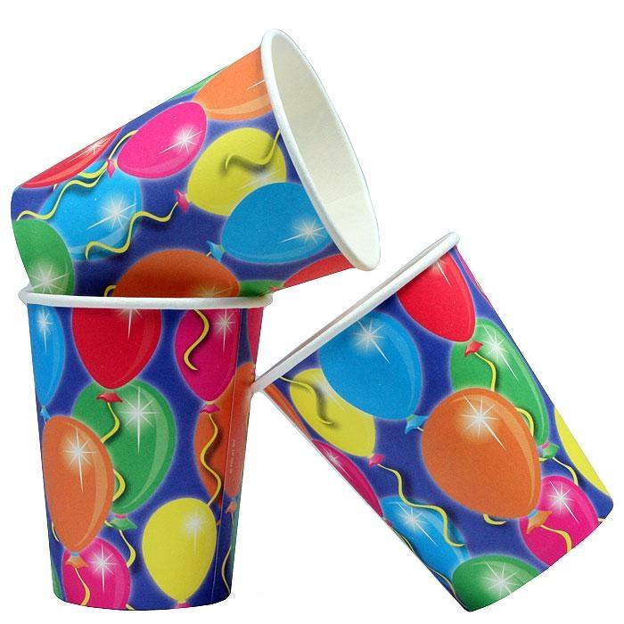 Partybecher für Ballonparty Kinder, knallig bunt, 250ml, 8er-Pack