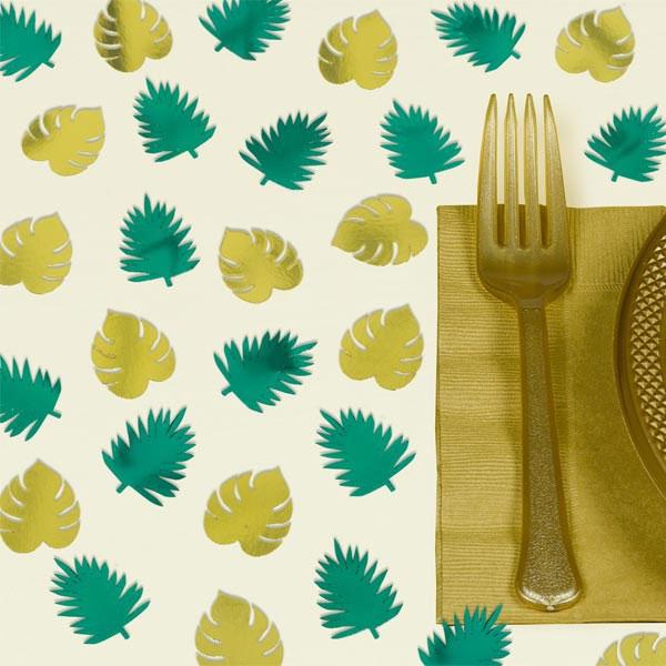 Tropical Summer Konfetti, metallic Palmenblätter, 48 tlg