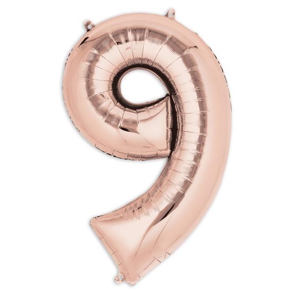 """Folienballon  Zahl """"9"""" - Rosé Gold, 86 × 55 cm in gefülltem Zustand, 1 Stück"""