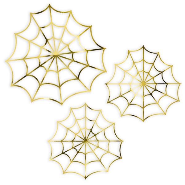 Deko-Spinnennetze im 3er Pack, Tischdeko zu Halloween