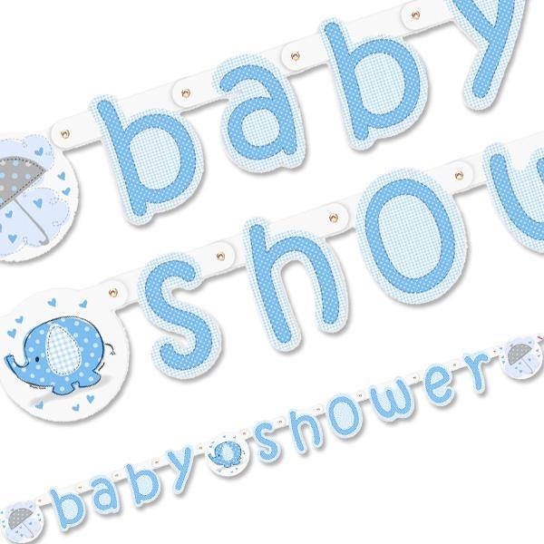 Partykette BABY SHOWER mit blauem Elefanten aus Pappe, 1,6 m, 1 Stück