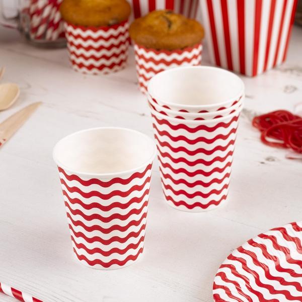 Partybecher mit roten Wellen, 8 Stück