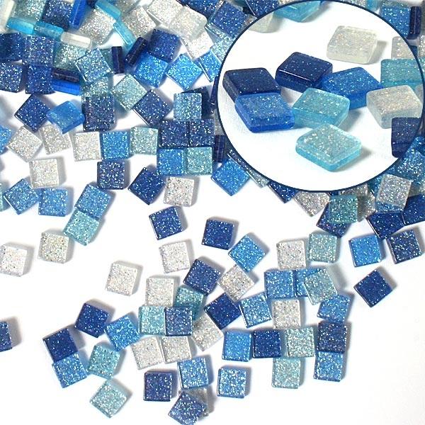 Mosaiksteine, 700 Stück, 5x5mm GLITTER MIX - blau