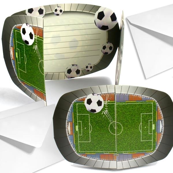 Fußball-Stadion Einladungen im 8er Pack für Fußballparty +Umschläge