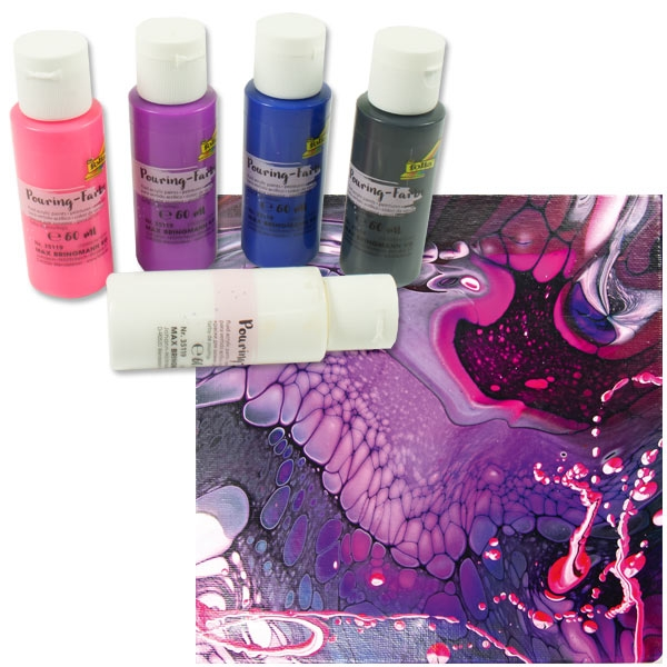 Pouring Kreativset BUNT, 5 Farben, mit Pouring-Medium