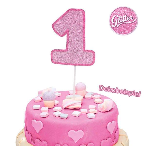 """Cake Topper  Zahl """"1"""", glitzerndes Pink, 1 Stück"""