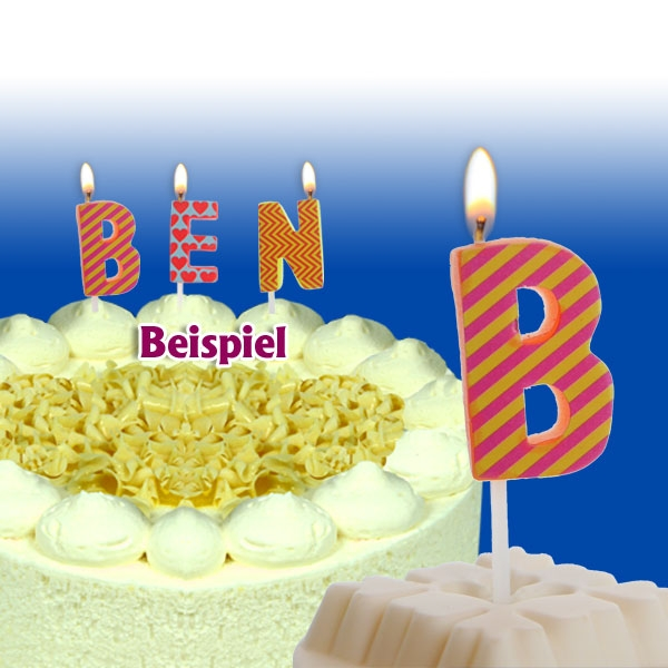Mini Kerze Buchstabe B, Tortenkerze zum Personalisieren, 2,5cm, 1 Stück