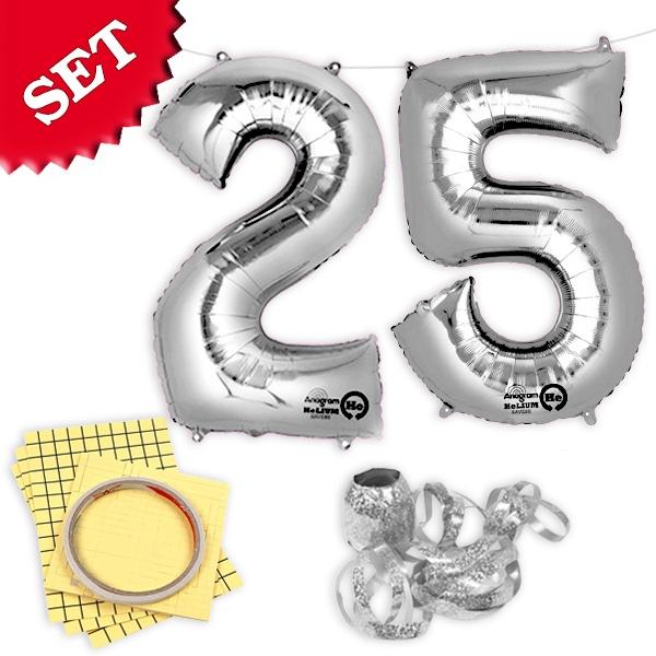 """XXL Folieballons Zahl """"25"""", silber"""