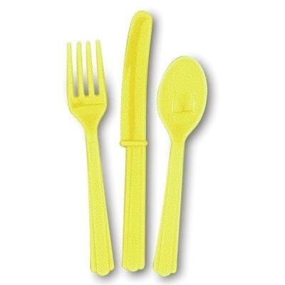 Kinderbesteck gelb 18-teilig, je 6 Plastikmesser, Gabeln, Löffel 14-17cm