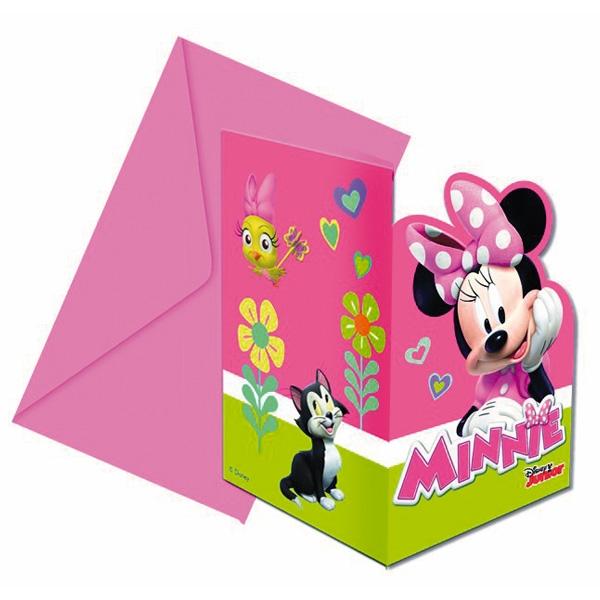 Minnie Mouse Einladungen inkl. Umschläge, 6er Set Einladungskarten