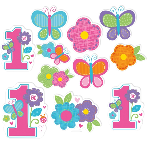 Sweet Birthday Pappfiguren 12 Stk., Deko für 1. Geburtstag, bis 28cm