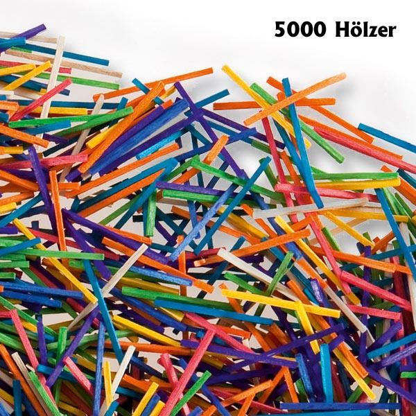 Bastelhölzer, Zündholzformat 5.000 Stäbchen, farbig sortiert, 42×2mm