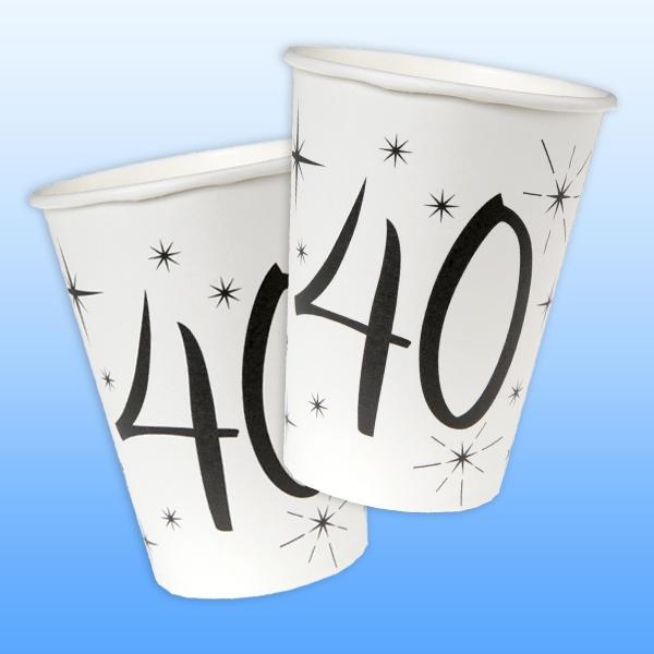 Becher zum runden 40. Geburtstag mit kleinen Sternen, 10 Stück, Pappe