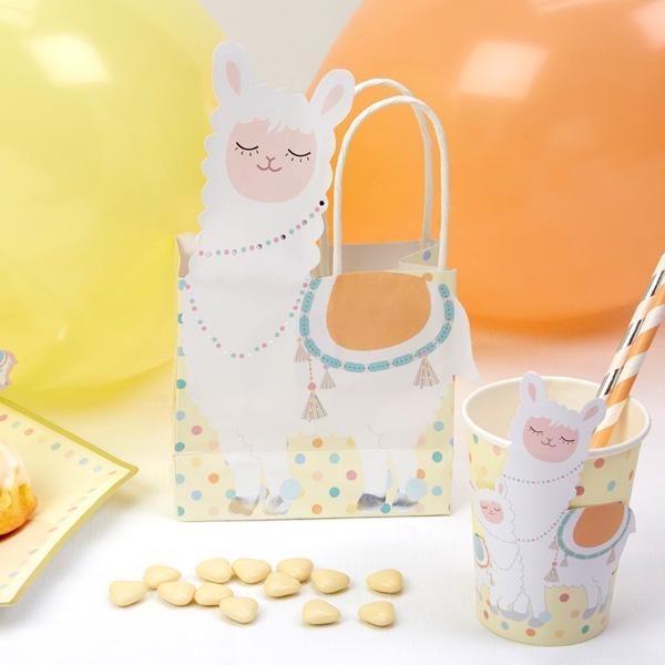 """Papiertaschen """"Lama"""" im 5er Pack, witzige Geschenktaschen für Kinder"""