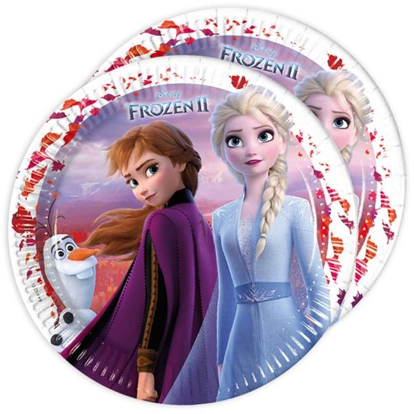 Frozen 2 - Teller, 8 Stk, 23cm, mit Anna, Elsa und Olaf