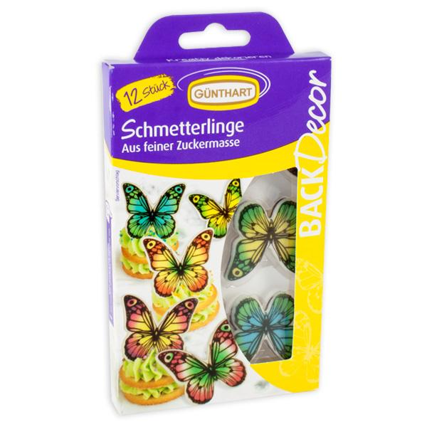 Schmetterlinge Tortendeko aus Zucker, 12 Stück