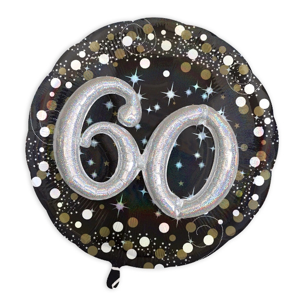 Glitzer-Folieballon Set mit 3D Effekt zum 60. Geburtstag