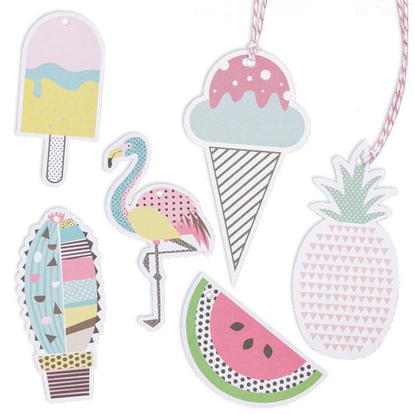 Sommerliche Geschenkanhänger, 12er als Flamingo, Eis, Ananas etc.