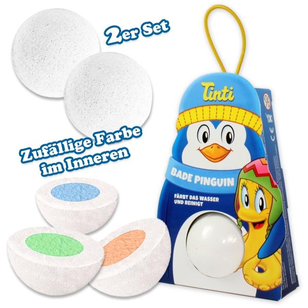 Tinti Bade Pinguin, Badewasserfarbe zum Aufhängen für Kinder, 2er Pack