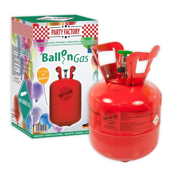 Helium Ballongas für 20 Luftballons, Ballonfüllgas in Einwegflasche, 1 Stk.