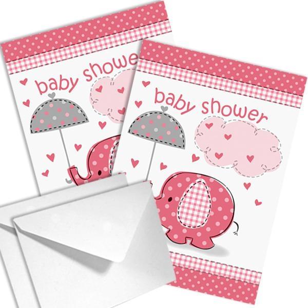 Babyparty Einladungen Elefant für Girls mit Umschlägen im 8er Pack