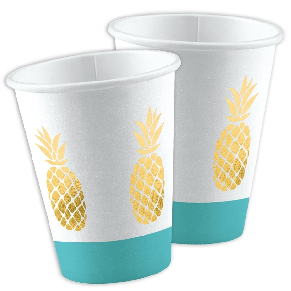Ananas Sommerparty 8x Pappbecher, Vol. 250ml