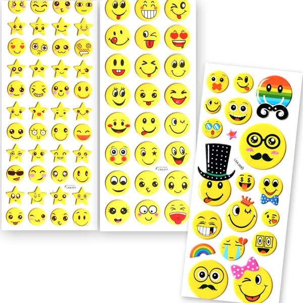 Smile Sticker, 1x Stickerbogen, Sticker für Kinder, Aufkleber 9,7 x 27,5cm