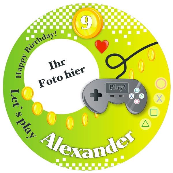 Gamer Foto Tortenaufleger mit Name u. Alter – rund