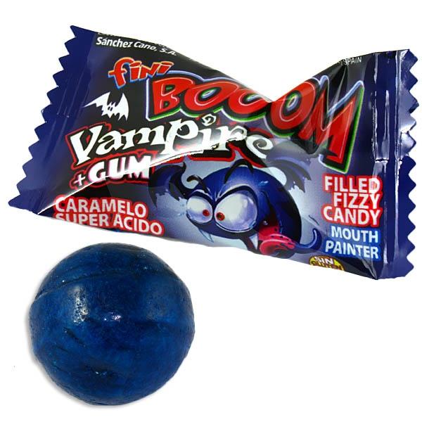Booom Vampir Bonbon, sauer mit Kaugummikern, färbt Zunge blau, 1Stk.