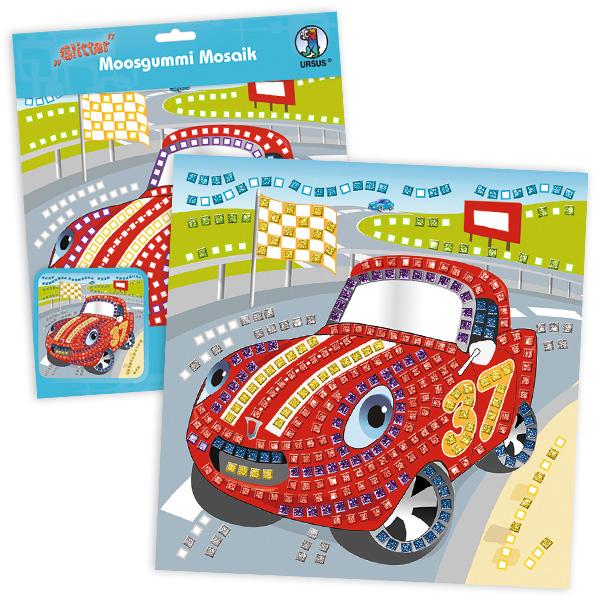"Moosgummi-Mosaik Bastelset ""Rennwagen"""