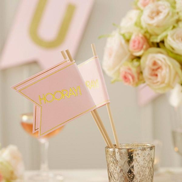 """Hooray"" rosa Papier-Fahne, 10Stk, 25cm"