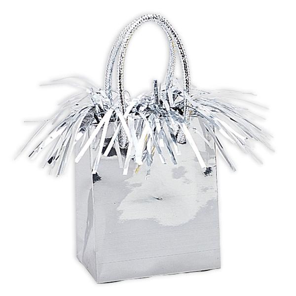 Ballongewicht als silberne Geschenk-Tasche mit Fransen, 1 Stück, 14x7cm