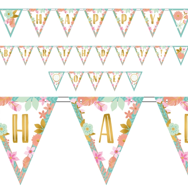 Boho Chic Hippie Party Wimpelgirlande, 4,57m, Happy Birthday + ONE