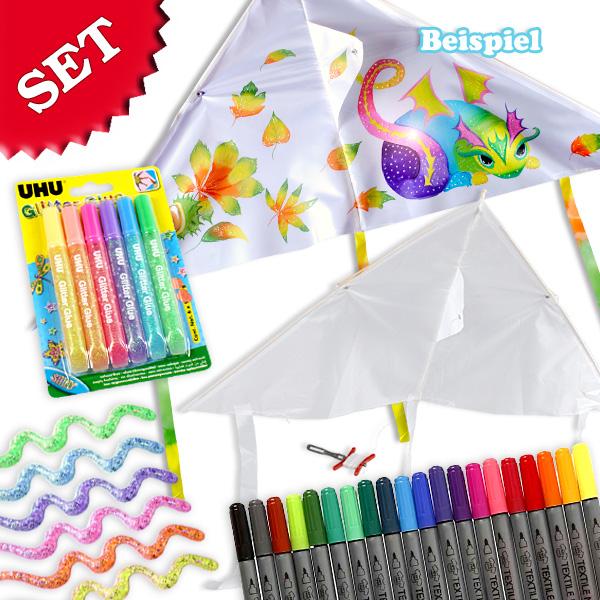 Bastelset Herbst-Drachen, mit Textilmalern und Glitzerkleber-P3