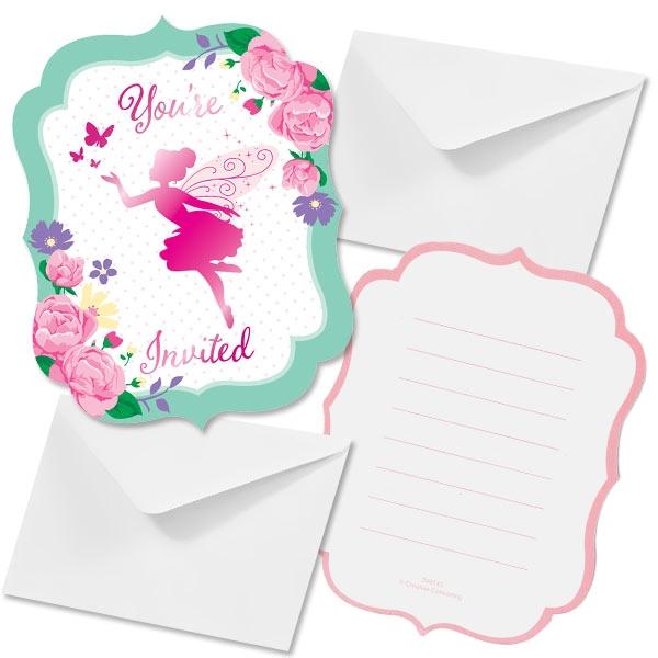 Blumenfee Einladungen, 8 Stk, mit Umschlägen, 11,2cm x 14,8cm