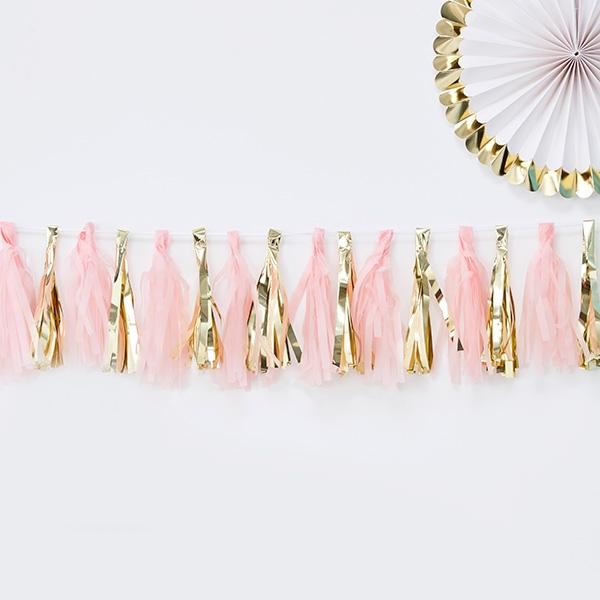 Quasten-Girlande in rosa und gold, 2m