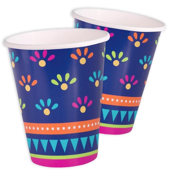"""""""Fiesta"""", Partybecher, 8 Stück, 270 ml, Pappbecher im mexikanischen Design"""