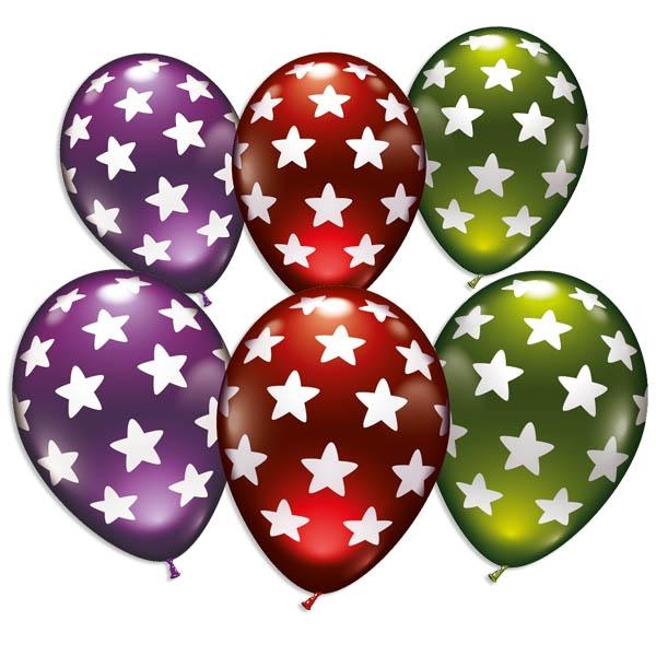 Bunte Ballons mit weißen Sternen, im 6er Pack