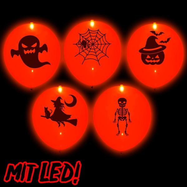 Halloween LED Ballons in Orange, 5 Stück, leuchten bis 20 h, 23cm