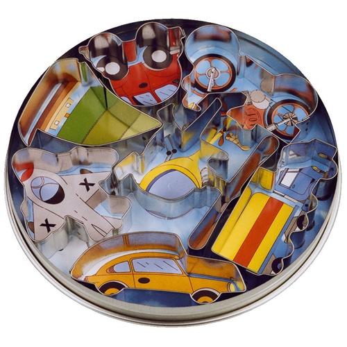 Fahrzeuge-Ausstecher Set Weißblech  6-8 cm, Plätzchenformen: Autos, Schiff, Flugzeug, Zug
