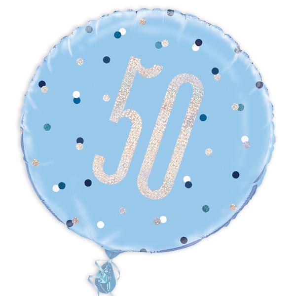 Folienballon rund mit Zahl 50, blau, 35cm, für Helium