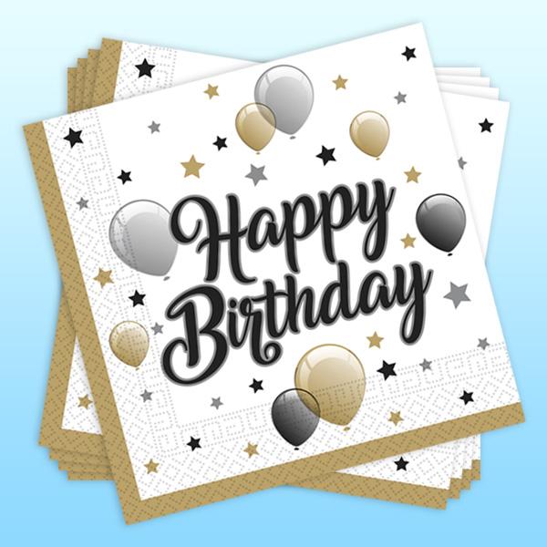 """Meilensteine Servietten """"Happy Birthday"""", 20 Stk, 33cm x 33cm"""