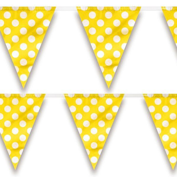 Wimpelkette in Gelb mit weißen Punkten für drinnen & draußen, 3,6m