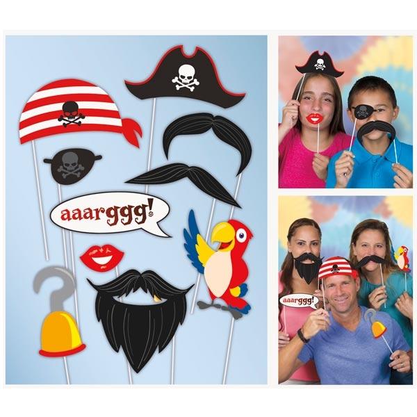 Requisiten für Piratenfoto-Selfies, Piratenhut, Augenklappe, Papagei
