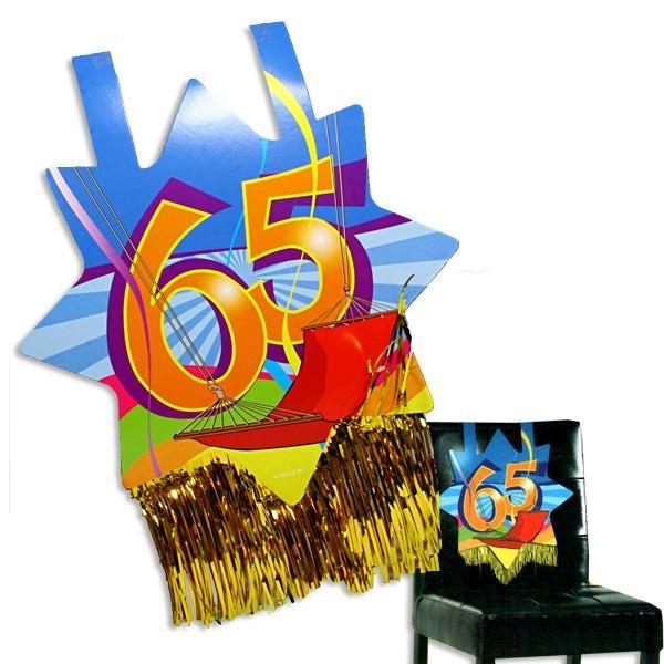 Stuhldeko zum 65. Geburtstag, ca. 31x71 cm, mit Goldfransen