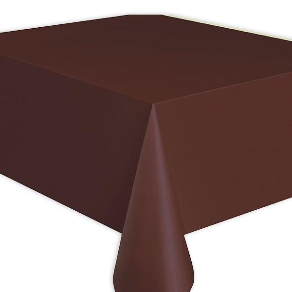 Tischdecke braun, Folie, 2,7 × 1,4m, einfarbige Partytischdecke, 1 Stück