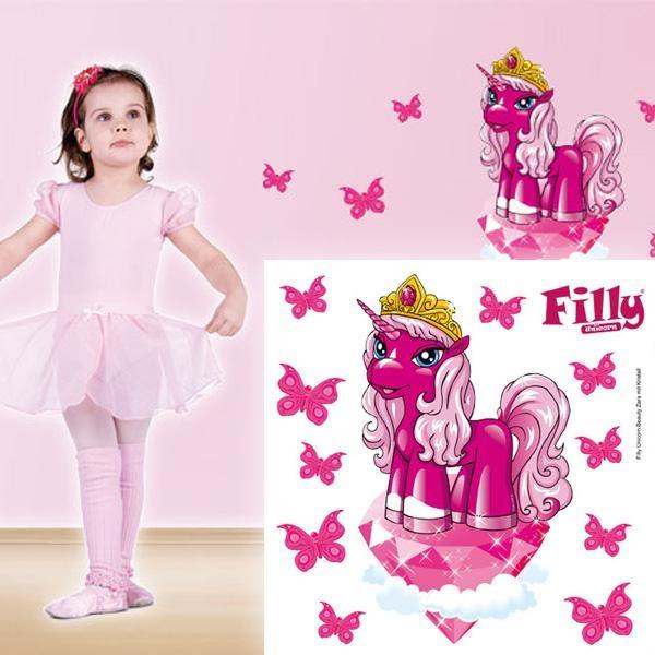 Wandtattoo Beauty Zara 11-teilig, süßes Pony und Schmetterlinge