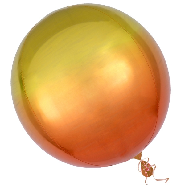 """""""Orbz"""" Folienballon in Gelb-Orange, kugelrund, Ø 38cm"""