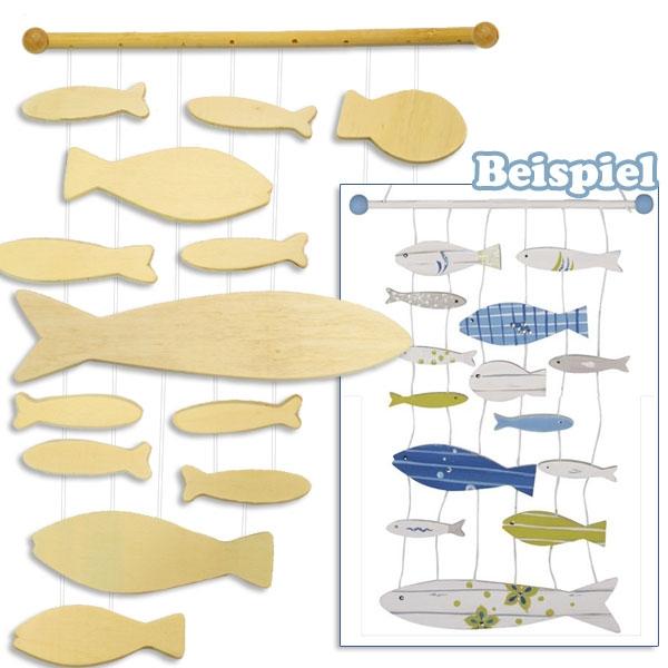 Bastelset Holz-Mobile Fische, 13 Fische u. Zubehör, Deko